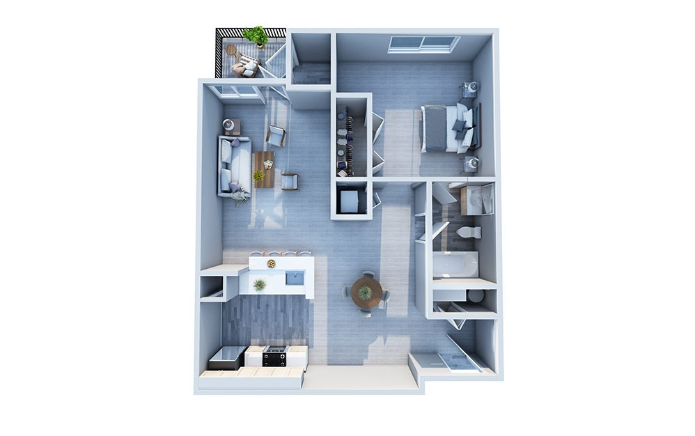 Birch - 1 bedroom floorplan layout with 1 bath and 677 square feet.