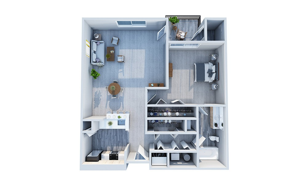 Arbors - 1 bedroom floorplan layout with 1 bath and 825 square feet.