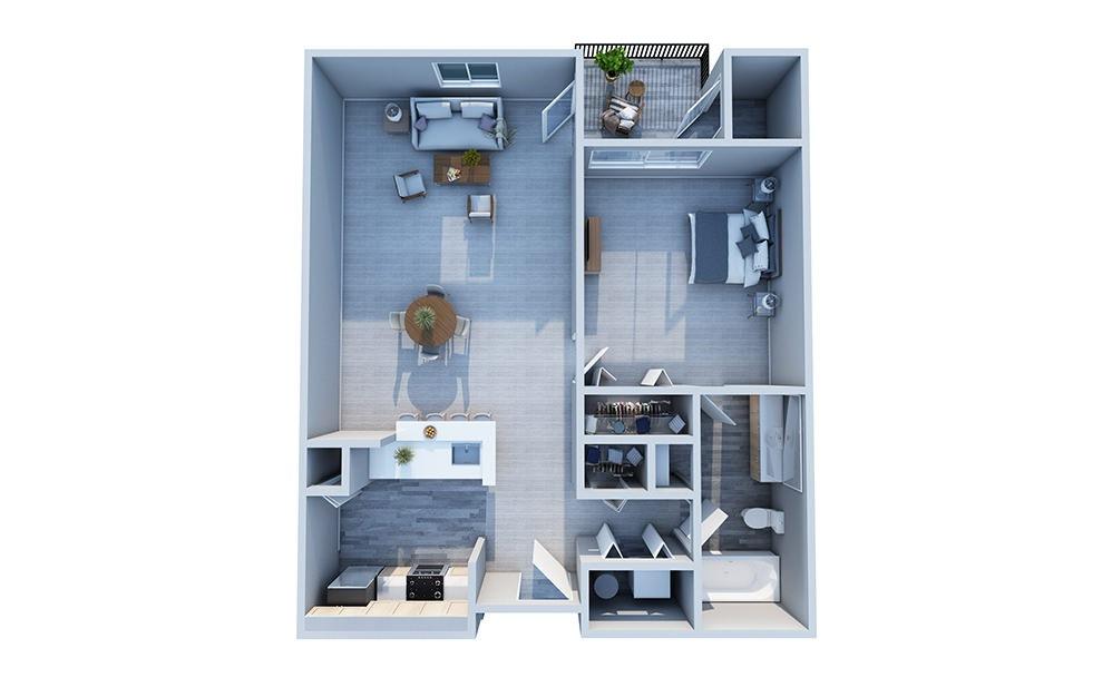 Cedar - 1 bedroom floorplan layout with 1 bath and 700 square feet.