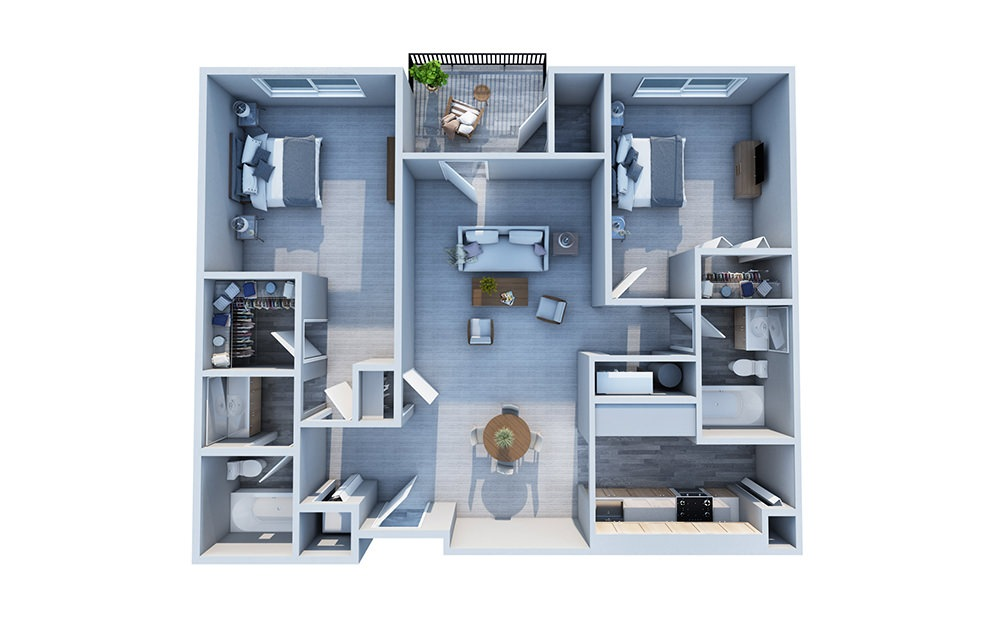 Dogwood - 2 bedroom floorplan layout with 2 baths and 1000 square feet.
