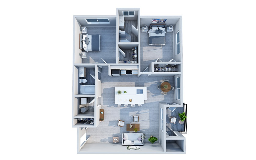 Elm - 2 bedroom floorplan layout with 2 baths and 1067 square feet.